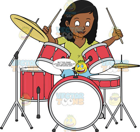 A Black Woman Smirks As She Begins To Hit The Drums With Drumsticks