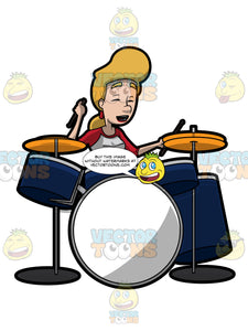 A Woman Delightfully Plays A Drum Set