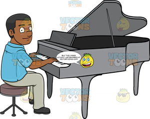 A Black Man Smiles While Playing The Piano
