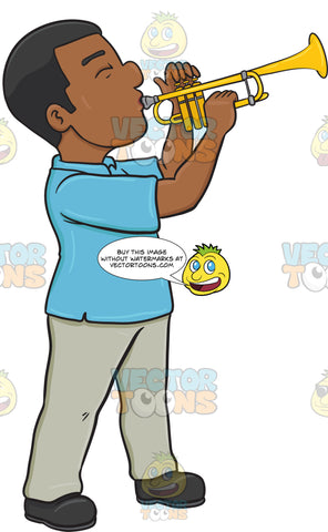 A Black Man Blowing Into A Trumpet