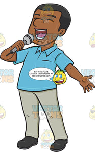 A Black Man Singing Cheerfully Into A Microphone
