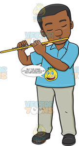 A Black Man In Deep Concentration And Passion While Playing The Flute