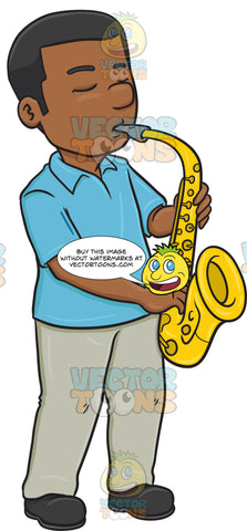 A Black Man In Serious Concentration While Blowing Into A Saxophone