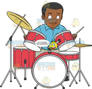 A Black Man Smirks As He Begins To Hit The Drums With Drumsticks