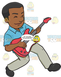 A Black Man Enjoying His Guitar Solo