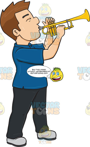 A Man Blowing Into A Trumpet