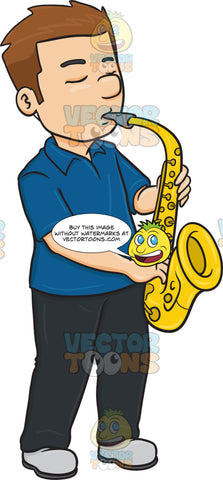 A Man In Serious Concentration While Blowing Into A Saxophone