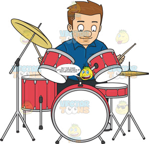 A Man Smirks As He Begins To Hit The Drums With Drumsticks