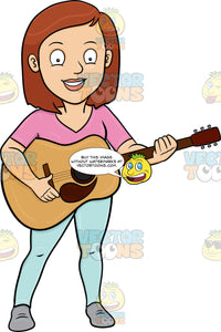 A Cheerful Woman Playing A Classic Guitar