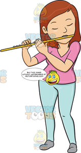 A Woman In Deep Concentration And Passion While Playing The Flute