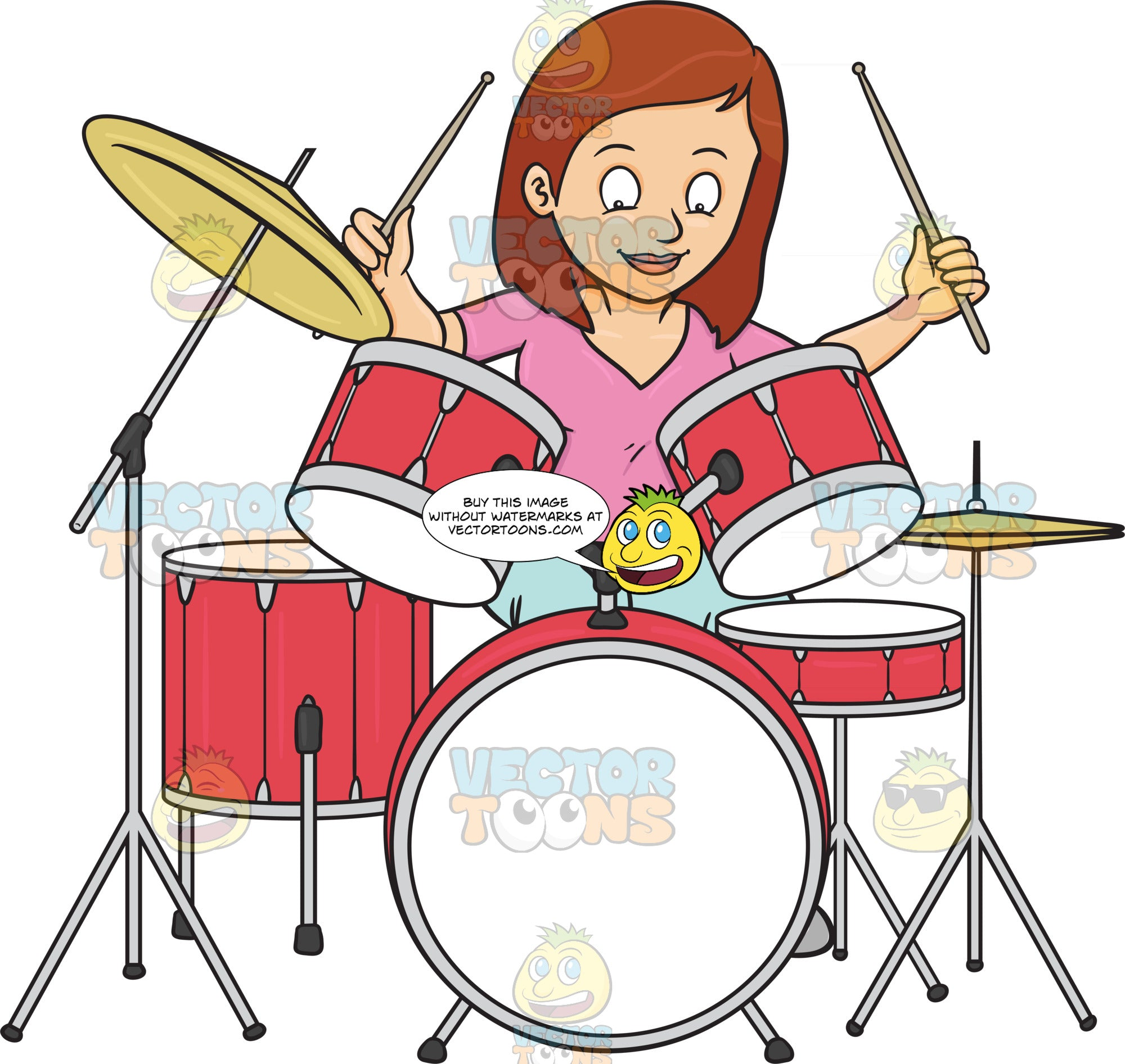 A Woman Smirks As She Begins To Hit The Drums With Drumsticks