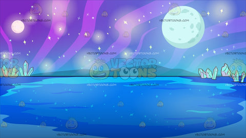Mysterious Outer Space Lake Background
