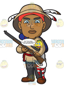 An Alerted Native American With A Shotgun