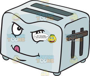 Naughty Look On Pop Up Toaster While Licking Lips Emoji