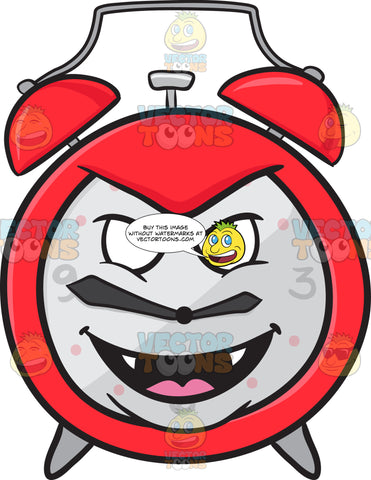 Naughty Looking Alarm Clock Grinning With Fangs Emoji
