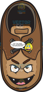 Naughty Looking Brown Shoe Smiling With Fangs Emoji
