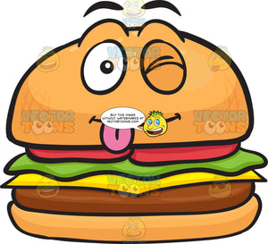 Naughty Looking Cheeseburger Winking And Sticking Out Tongue