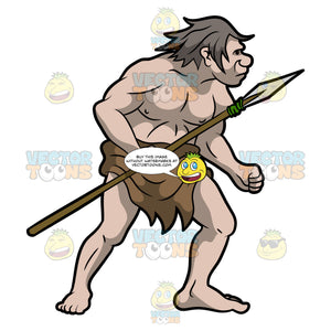 A Caveman Holding A Long Spear