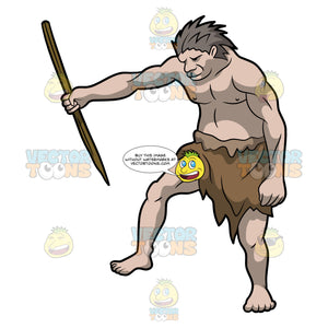 A Caveman Holding A Very Sharp Wooden Spear