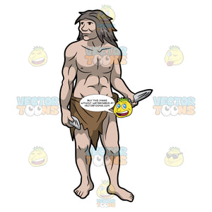 A Caveman Holding Some Stone Tools