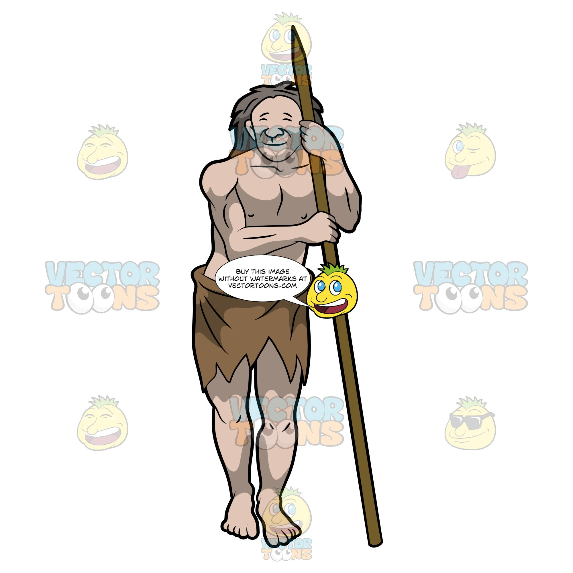 A Smiling Caveman Takes Time To Rest With His Long Spear