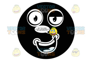 Smiling Mouth With Upward Slanting Mouth, One Eyelid Half-Closed, Black Smiley Face Emoticon