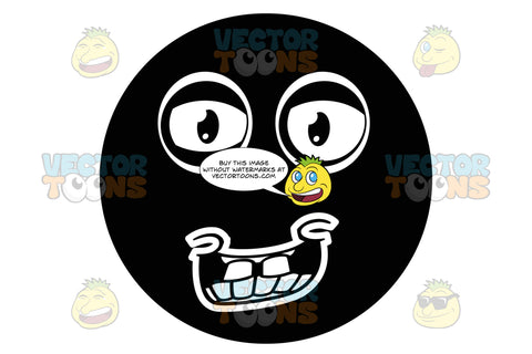 Hick Black Smiley Face Emoticon With Buck Teeth, Looks Naive