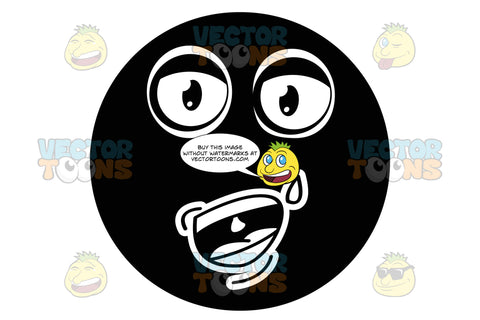 Sweating, Black Smiley Face Emoticon With Open Mouth And Tongue, Talking, Explaining