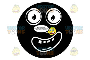 Thrilled Black Smiley Face Emoticon