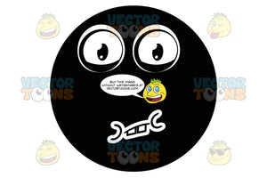 Speechless Black Smiley Face Emoticon With Closed Mouth, Raised Lower Eyelids