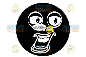 Wide Open Mouthed Black Smiley Face Emoticon Talking, Showing Upper Gums And Teeth