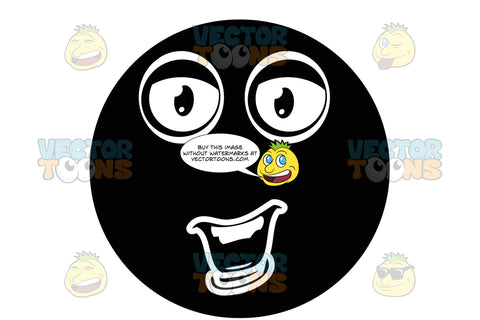 Social, Talking, Black Smiley Face Emoticon With Lower Lip