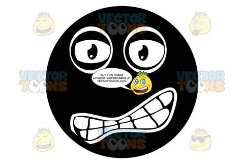 Aggravated Black Smiley, Girtting Teeth With Figure Eight Shaped Mouth