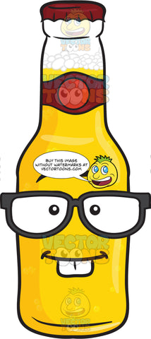 Nerd Looking Bottle Of Beer With Eye Glasses Emoji