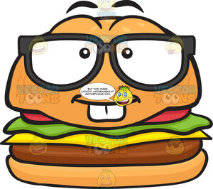 Nerd Looking Cheeseburger Wearing Eye Glasses