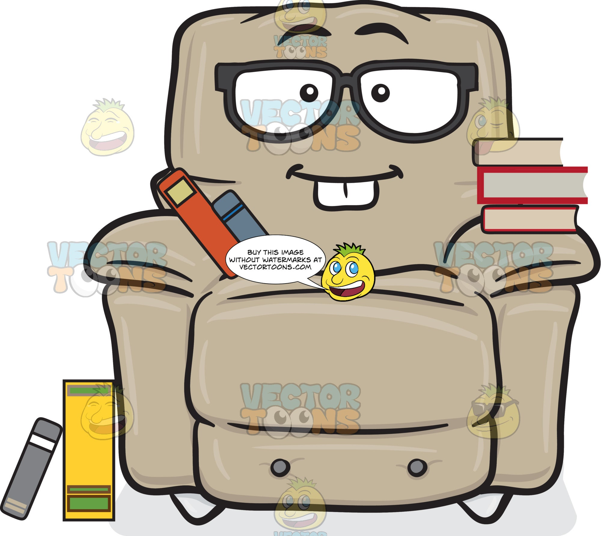 Nerd Looking Stuffed Chair Wearing Eyeglasses With Books Emoji