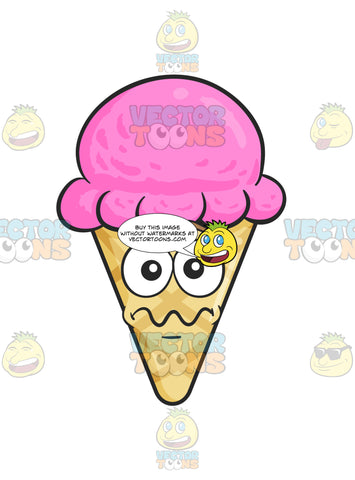 Nervous Looking Ice Cream In Cone