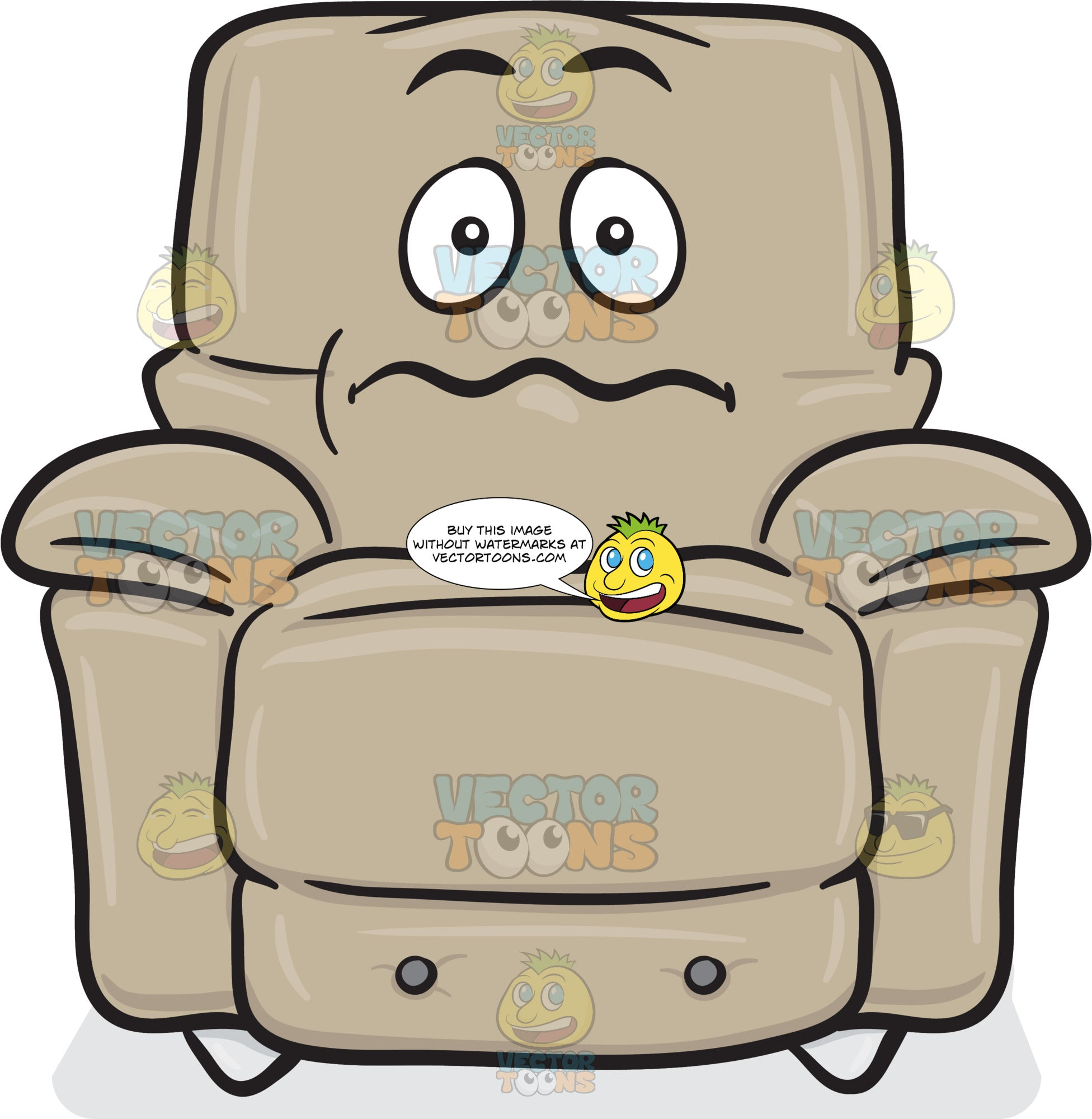 Nervous Looking Stuffed Chair Emoji