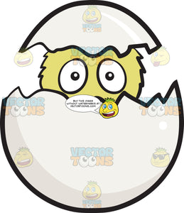 Newborn Chick Peeking Out Of A Cracked And Hatched Egg Emoji