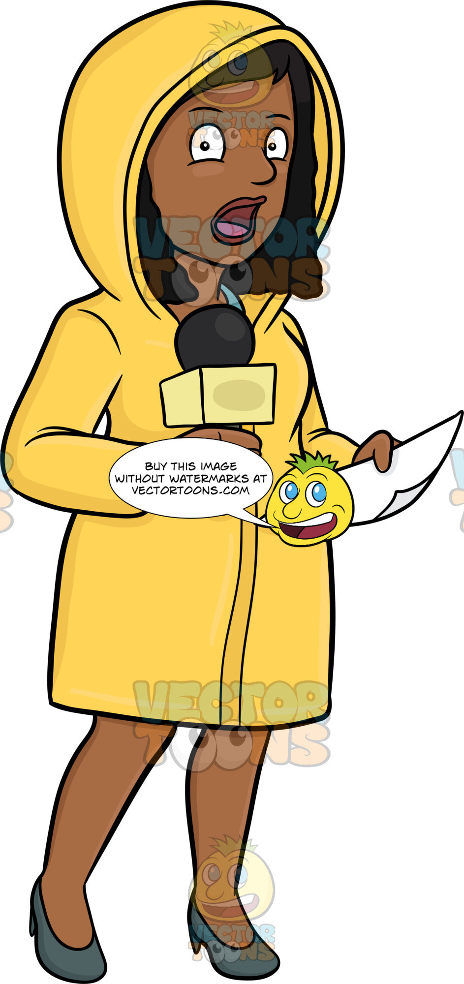 A Black Female Broadcaster In Raincoat Reporting News From The Field Despite The Bad Weather