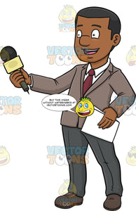 A Black Broadcaster Holding A Mic To Interview Someone