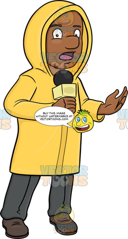 A Black Broadcaster In Raincoat Reporting News From The Field Despite The Bad Weather