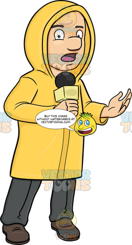 A Broadcaster In Raincoat Reporting News From The Field Despite The Bad Weather