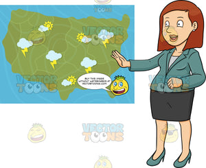 A Weather Girl Reporting The Latest Weather Bulletin