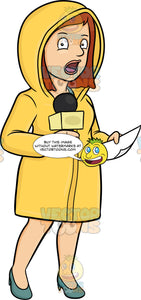 A Female Broadcaster In Raincoat Reporting News From The Field Despite The Bad Weather