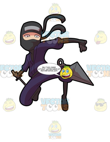 A Ninja Master Throwing A Weapon