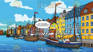Nyhavn District In Copenhagen Background. Nyhavn Canal in Denmark lined with brightly colored buildings and boats in the water