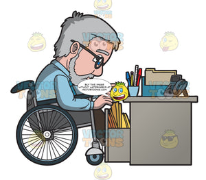 A Disabled Male Office Worker Looking For A File