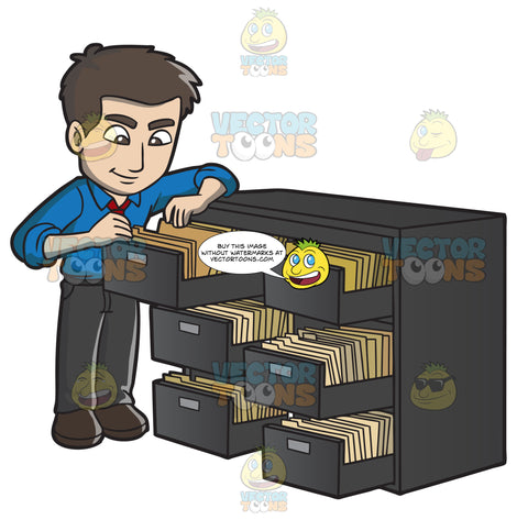 A Male Office Worker Searching For A Folder In The File Room