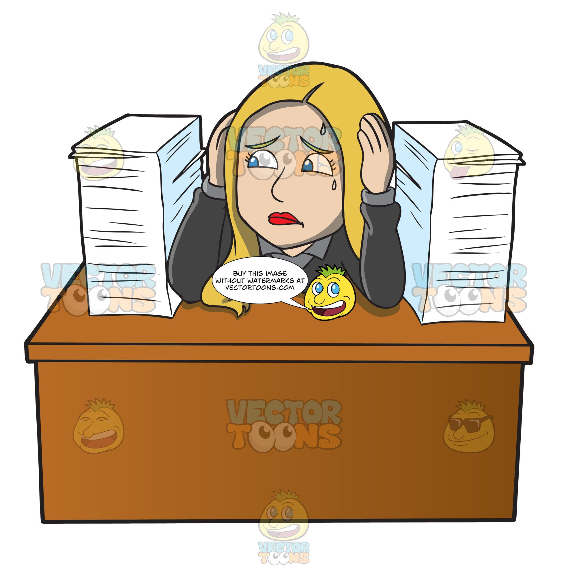 A Frustrated Female Employee With A Pile Of Paperwork